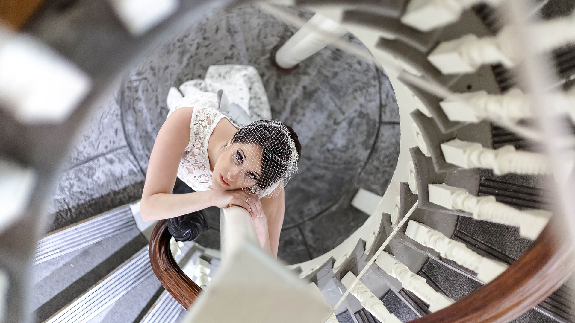 bride on the stairwell of Boston's Old State House